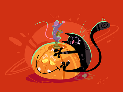 Harmony party harmony halloween mouse cat game cartoon coloring process illustration spovv characterdesign fun character