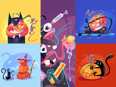 🎃 Halloween Mood 👻 pumpkin mouse cat halloween game coloring cartoon process illustration spovv fun characterdesign character