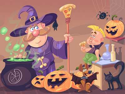 Party Time! wizard animals dog cat pumkin kid kids party flyer halloween cartoon coloring illustration spovv drawing characterdesign fun character