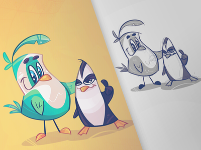 Poulet chicken poulet digital coloring cartoon process sketch illustration spovv drawing characterdesign fun character