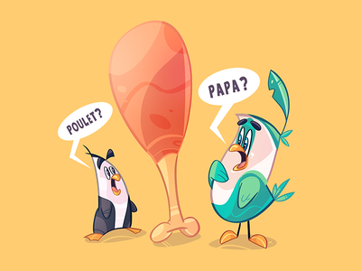 Papa? fathers day father papa bird poulet chicken cartoon spovv characterdesign coloring fun process sketch character