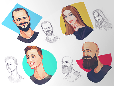 Unfold Avatars unfold team avatardesign avatar illustration process spovv fun characterdesign character