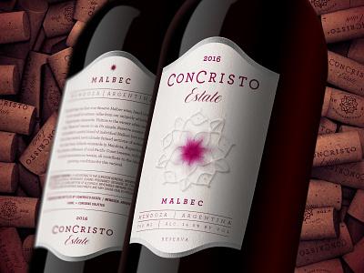 Wine Label and Cork Design food beverage wine label branding package print typography logo