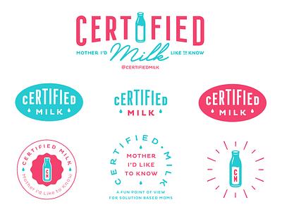 Certified Milk Logo Set women milk mom branding typography type identity design logo