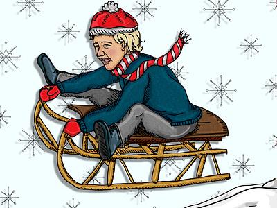 Sledding christmas winter sledding sled snowing snowflake snow boy child illustration