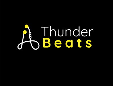 Thunder Beats Logo flat adobe illustrator illustration minimal design typography icon logo graphic design branding