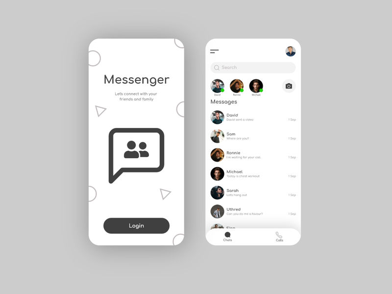 Messenger UI Design ui design ux design illustration adobe illustrator app mobile typography design branding ux ui