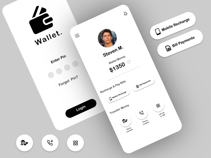 Wallet App UI Design uidesign icon illustration figma adobe illustrator branding mobile app ux design minimal ux ui