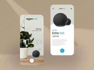 Amazon Echo Dot App illustrations behance ios app android app product artificialintelligence dribbble colors clean typography amazon echo mobile figma uidesign app ux design ux ui minimal design