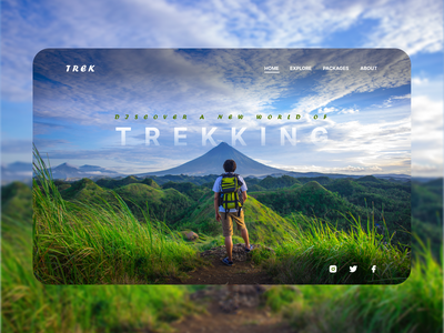Trekking Landing Page adobe photoshop colors mountains product behance dribbble webdesign website uidesign uiux graphic design trekking landingpage figma typography ux design ux ui design