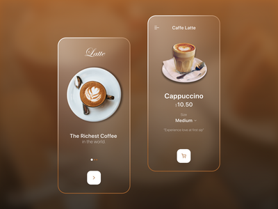 Coffee Shop App figma mobile typography ios app android app behance colors clean dribbble best shot glassmorphism coffee app coffeeshop app uxdesign uxui uidesign ux ui minimal design