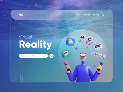 Virtual Reality Landing Page webdesign 3d illustration vr design colors uiux dribbble graphic design virtual reality website design landingpage illustrations 3d typography glassmorphism ux design minimal design ux ui