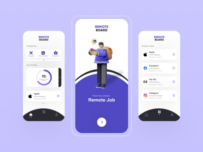 Remote Board App Concept jobs app concept color palette behance dribbble best shot 3d illustrations remotework app design ios app android app mobile uiux minimal uidesign figma ux design ux ui design