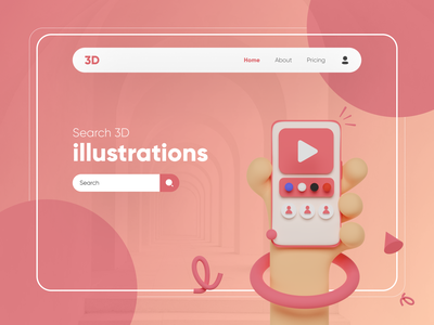 Search 3D illustrations Landing Page colors search trending behance website webdesign landingpage dribbble uidesign illustration 3d illustrations 3d minimal uiux typography graphic design ux design design ux ui