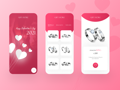 Happy Valentine's Day Gift Store diamond ring couples mobile app valentine dribbble best shot colors concept uidesign uiux love ios app android app gifts valentines day ux design minimal design ux ui dribbbleweeklywarmup