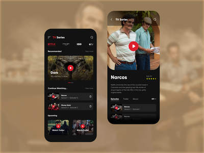TV Series App Concept netflix color product mobile ios app android app dribbble dribbble best shot concept app design entertainment tv series app uiux figma uidesign ux design minimal ux ui