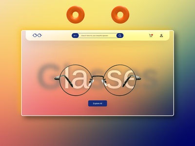 Glasses Website Design website website design adobe xd glassy interaction uxui uidesign glass adobe adobexd webdesign ui design uiux prototype uxdesign interaction design animation user interface design userinterface user experience