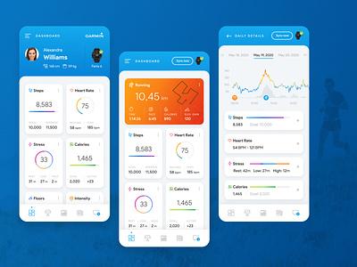 Garmin App stats fitness app fitness running move tracking garmin mobile app ui