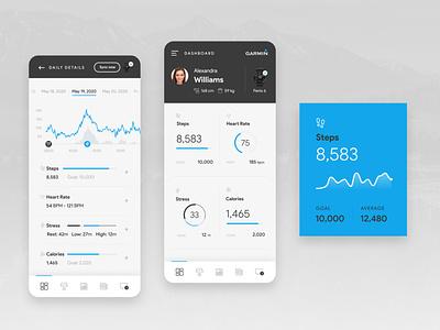 Garmin App uninvitedredesign fitnesstracking fitness sport tracking running garmin app ui