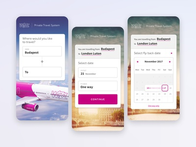 WIZZ Private Travel System - Mobile airplane flight booking flight wizzair design mobile ui