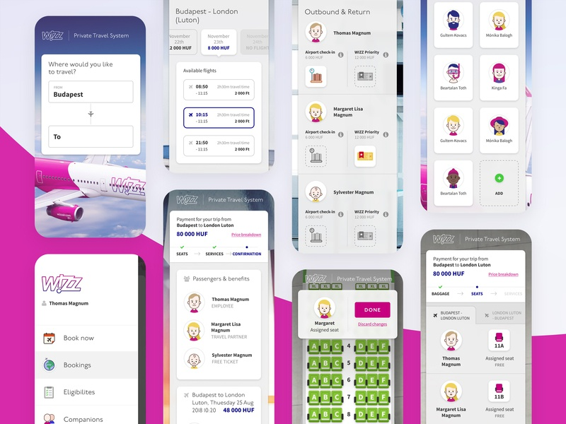 WIZZ Private Travel System - Mobile airplane booking flow booking flight wizz wizzair design mobile ui