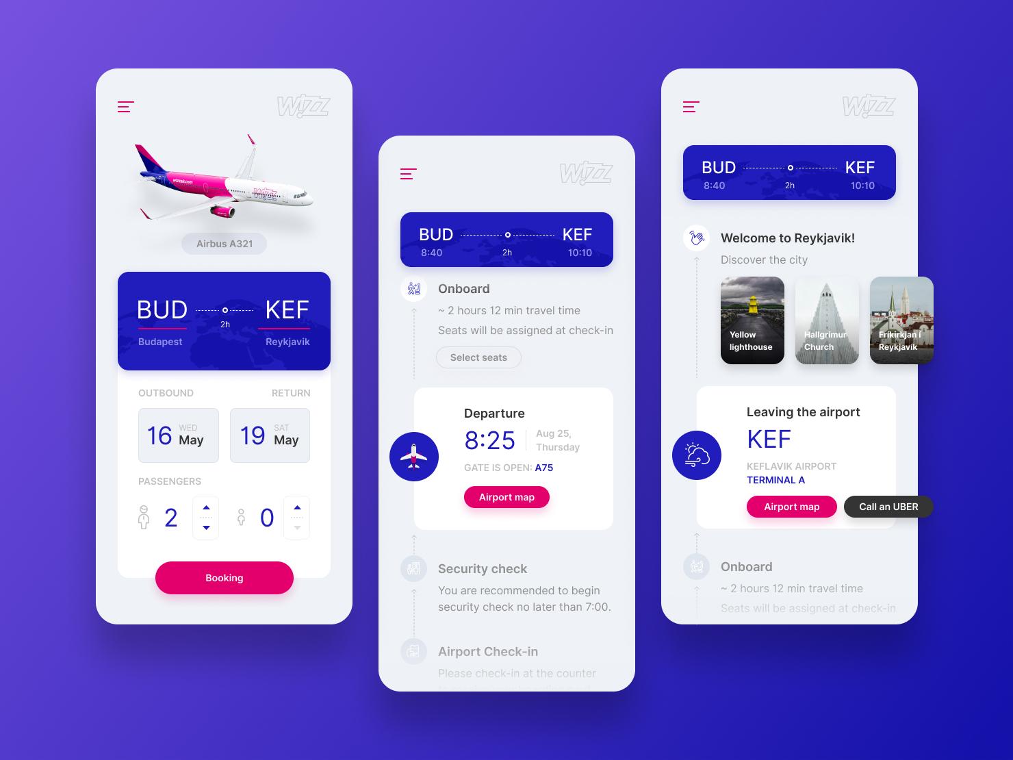 WIZZ App Concept aviation airways booking airplane flight concept wizz mobile ui app