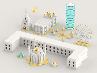Kazan toy kazan russia city cinema4d illustration 3d
