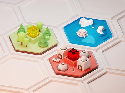 Terraforming Mars polygons blender 3d board game mars