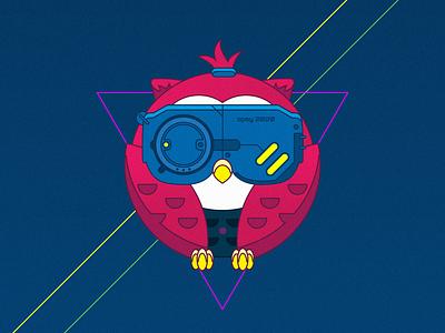 Cyber owl illustration bird animal owl retro