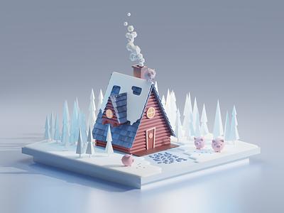 Not like the other illustration cartoon animals house winter blender 3d