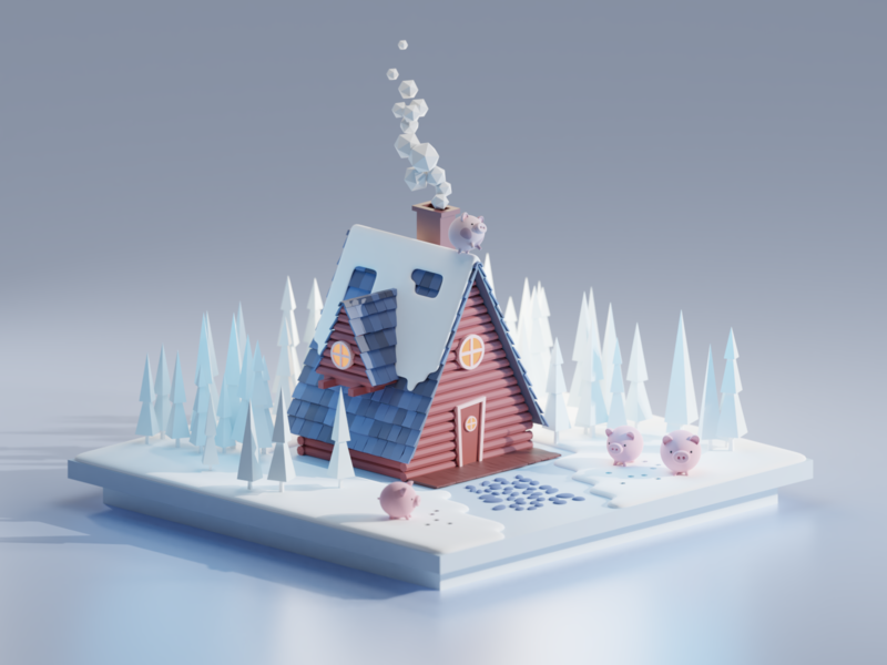 Not like the other illustration cartoon animals house winter blender 3d