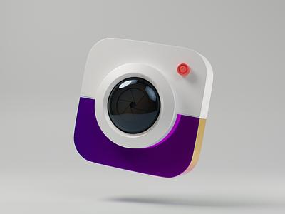 Camera icon blender illustration 3d
