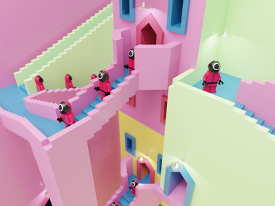 The maze from Squid game blender illustration 3d maze pink series lego netflix