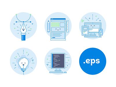 Free icons set adaptive tool pen develop code idea design download eps set icon free