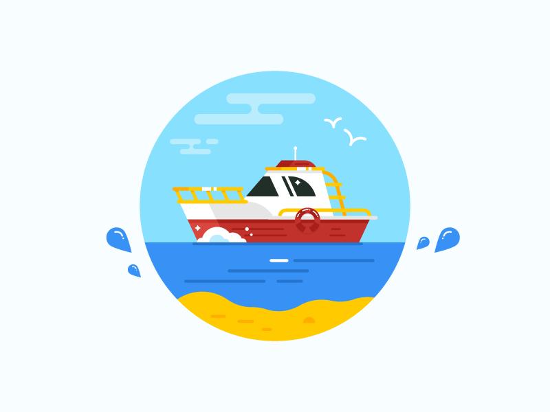 Boat ocean sea everyday icon summer beach ship