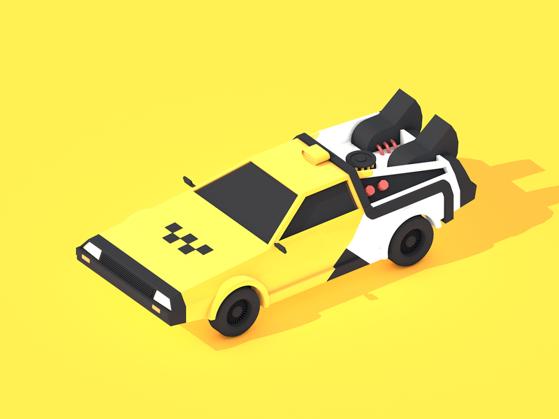Time taxi delorean yellow illustration simple 3d yandex back to the future car taxi