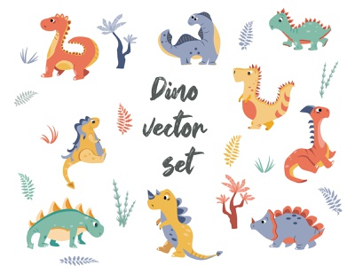 vector dino set for baby and not only baby funny sketch clothes pattern fabric textile print illustraion vector