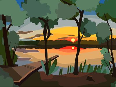 vector landscape holiday flat design design illustration sketch vector
