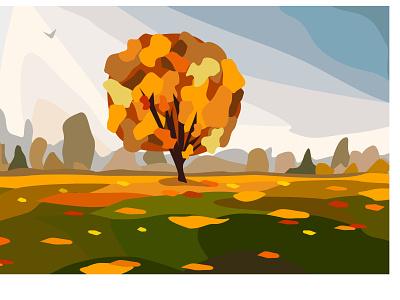 golden leaves and autumn nature calendar design flat design illustration vector