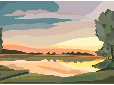 flat vector landscape nature calendar design flat design illustration vector