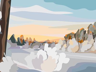 winter sunset design calendar nature sketch flat design illustration vector