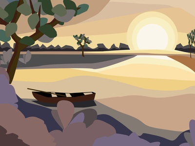 sunrise on the river nature design calendar sketch flat design illustration vector