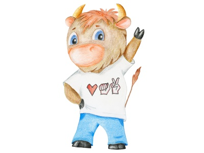 Freedom Belarus character 2021 bull freedom victory color pencil illustration