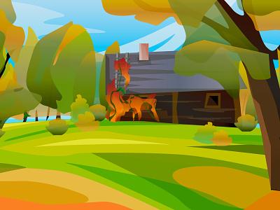 village landscape belarus cartoon nature flat design sketch design illustration vector