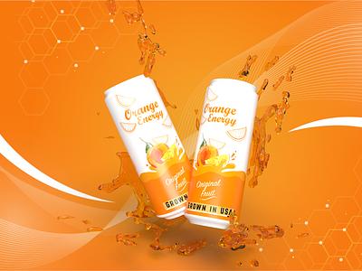 Orange Energy Drink drink ecommerce packaging product soda beer can banner branding energy