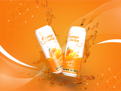 Orange Energy Drink dimension photoshop drink ecommerce packaging product soda beer can banner branding energy