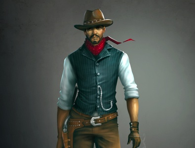 cowboy character zbrush illustrations sazzadmajumder illustration design concept art animation aceman