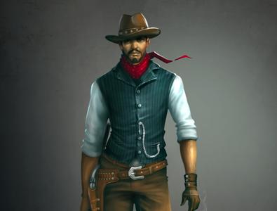 cowboy character zbrush illustrations sazzadmajumder illustration design concept art animation aceman