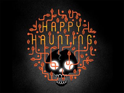 Happy Haunting orange black lettering illustration leaves vines creepy autumn fall skeleton skull halloween