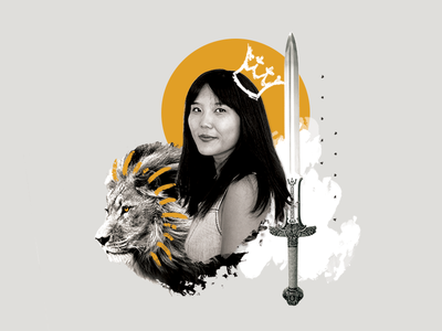 DC Inno Collage - Katie sun photoshop photography sword lion queen collage white and black